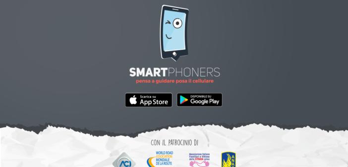 Affiche promotionnelle pour la campagne : SMARTPHONERS ! « Range ton portable quand tu conduis », avec la participation de l'Association mondiale de la route.
